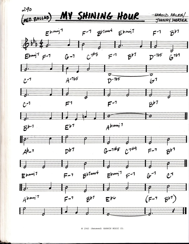"Lead sheet for the jazz standard ""My Shining Hour"""